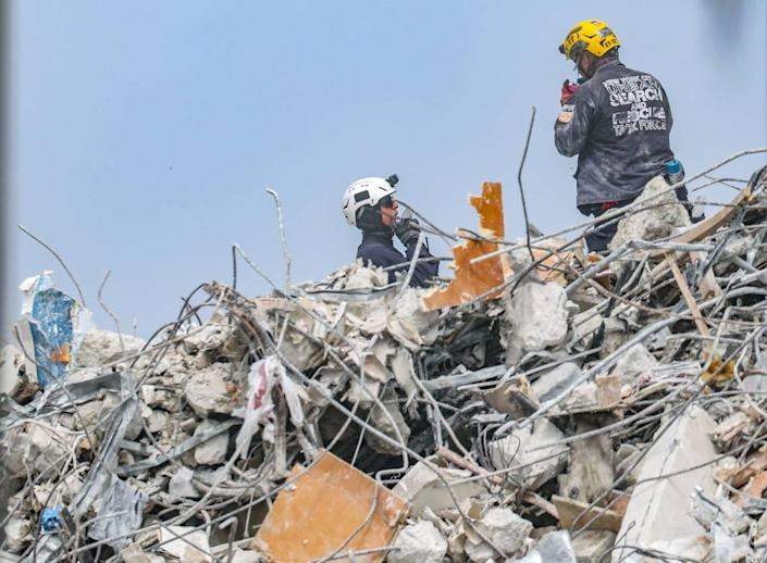The search and rescue teams continued their recovery operations through the rubble of the Champlain Towers South condominium building on Saturday, July 10, 2021, in Surfside, Florida.
