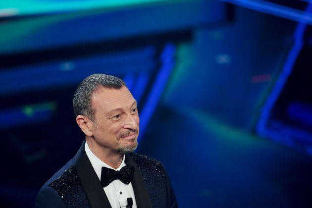 SANREMO, ITALY - MARCH 06:  Amadeus is seen on stage during at the 71th Sanremo Music Festival 2021 at Teatro Ariston on March 06, 2021 in Sanremo, Italy. (Photo by Jacopo Raule / Daniele Venturelli/Getty Images) (Photo: Jacopo Raule / Daniele Venturelli via Getty Images)