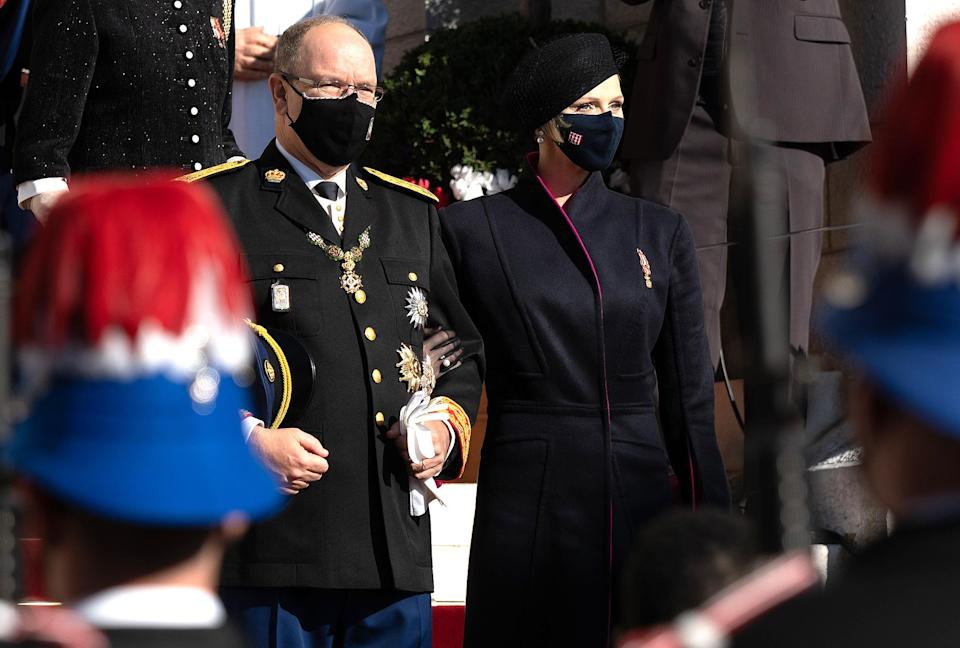 "<p>For National Day, she wore a black double-faced dress coat with fuschia lining by South African designer Terrence Bray, a friend she has collaborated with since 2011.</p> <p>""She has very good taste,"" her husband Prince Albert tells PEOPLE, ""and a good team of people around her, looking out for things that she'd like or want.</p> <p>""But she's able to recycle the different elements into new pieces. Like the coat that she wore for National Day, for example, was actually restyled by a South African friend of hers. It looks new but it's actually recycled."" </p>"