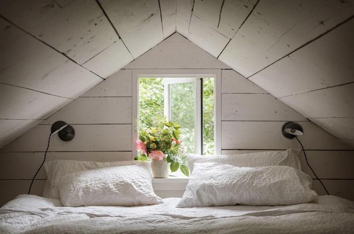 With its tiny window, the loft offers a view of the cherry orchard.