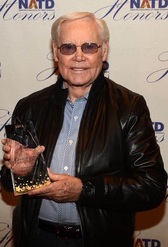 NASHVILLE, TN - NOVEMBER 14:  Singer/Songwriter George Jones and his NATD Award during the 2012 NATD Honors at The Hermitage Hotel on November 14, 2012 in Nashville, Tennessee.  (Photo by Rick Diamond/Getty Images for Nashville Association of Talent Directors)