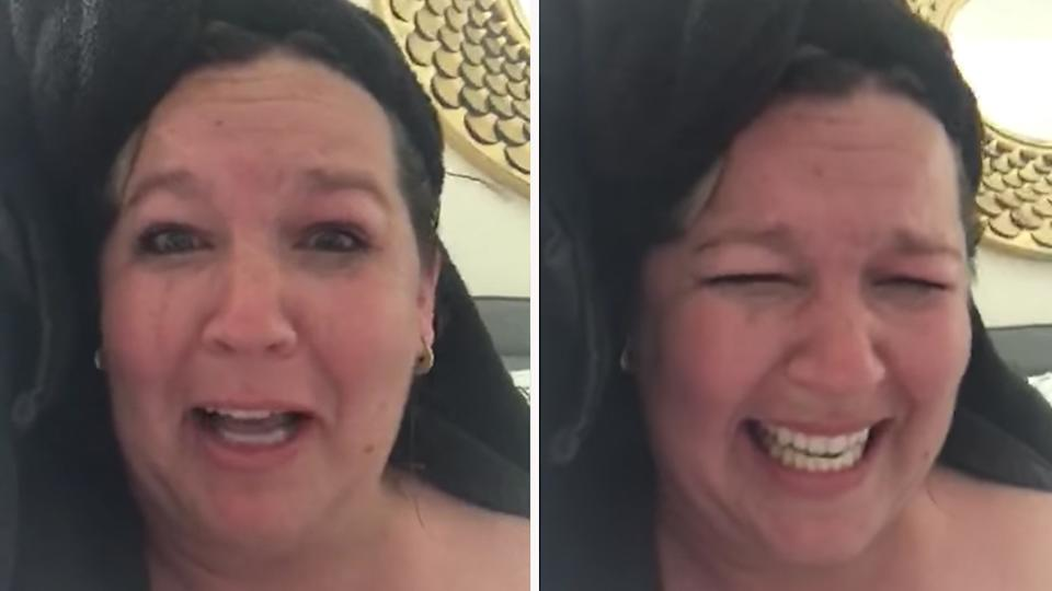 Ashley Smith, a mother from Florida, has revealed the moment she walked into the background of her daughter's Zoom meeting while naked. Photo: Facebook/Ashley Smith
