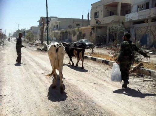 Syrian army soldiers walk with cows in a street in Qusayr in the central Homs province on June 6, 2013