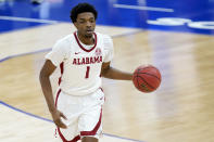 Alabama's Herbert Jones plays against LSU during the first half of the championship game at the NCAA college basketball Southeastern Conference Tournament Sunday, March 14, 2021, in Nashville, Tenn. (AP Photo/Mark Humphrey)