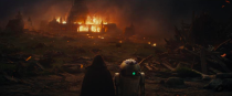 <p>In a flashback, we see some of Kylo Ren's backstory that was revealed by Han Solo (Harrison Ford) in the previous film<em>. </em>Here, Luke Skywalker and R2-D2 observe the destruction wrought by Kylo Ren's betrayal of the Jedi. <br>(Credit: Lucasfilm) </p>