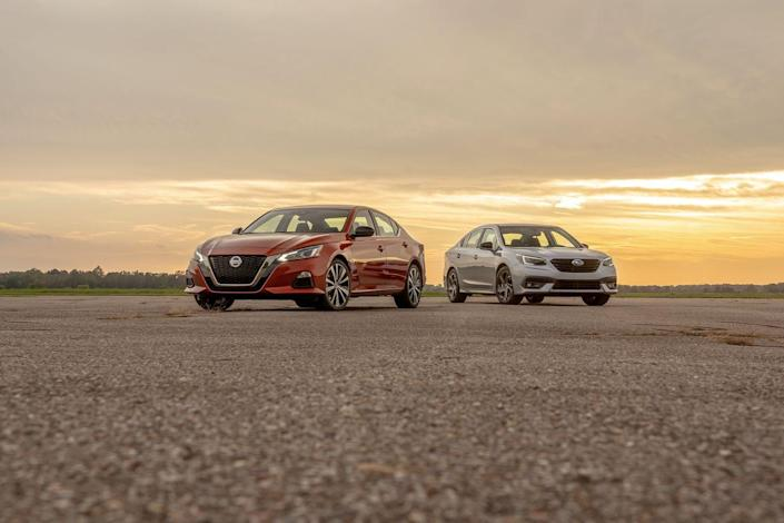 View Photos of the 2020 Nissan Altima AWD and 2020 Subaru Legacy