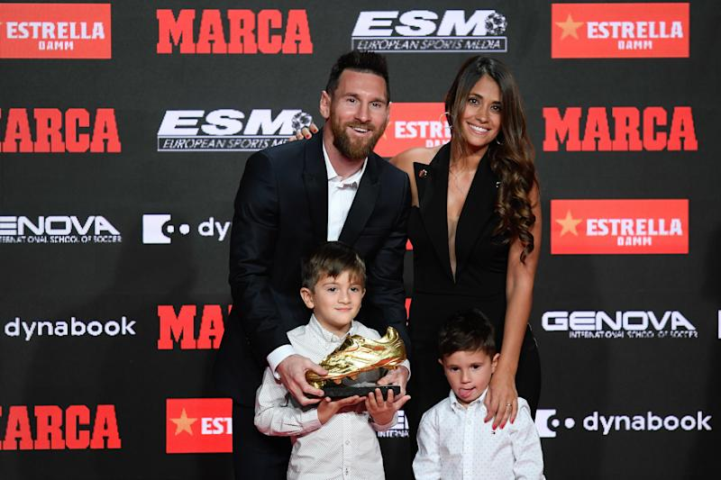 BARCELONA, SPAIN - OCTOBER 16: Lionel Messi (rear L) of FC Barcelona poses with his wife Antonella Roccuzzo (rear R) and their two sons after receiving the 2018-19 Season European Golden Shoe award for Europe's top scorer for the sixth time during the Golden Shoe Award Ceremony at Antiga Fabrica Estrella Damm on October 16, 2019 in Barcelona, Spain. (Photo by Adria Puig/Anadolu Agency via Getty Images)