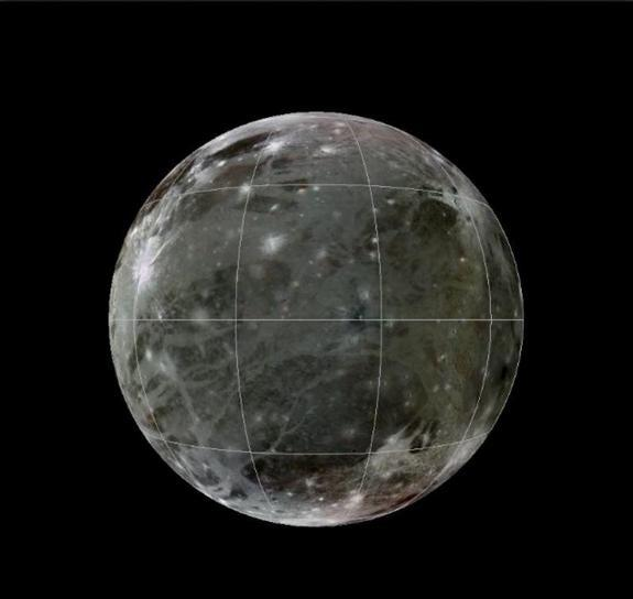 A geologic map of Jupiter's largest moon Ganymede is superimposed over a global color mosaic of the Galilean moon made of images from NASA's Voyager 1, 2 and Galileo spacecraft.