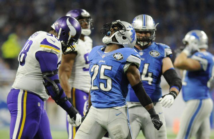 Theo Riddick and the Detroit Lions are in sole possession of first place in the NFC North with five games to play (AP)