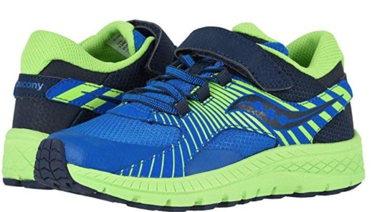 Saucony Kids Boy's S-Velocer A/C shoe blue and green with Velcro