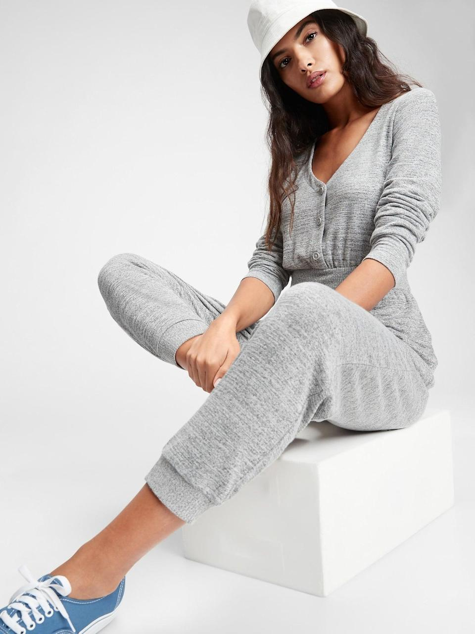 <p>It's hard to find a better outfit to lounge in than this <span>Gap Softspun Cozy Jumpsuit</span> ($63, originally $80).</p>