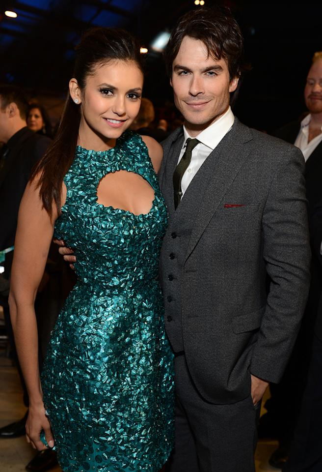 SANTA MONICA, CA - JANUARY 10:  Actors Nina Dobrev and Ian Somerhalder attend the Critics' Choice Movie Awards 2013 with Skinnygirl Cocktails at Barkar Hangar on January 10, 2013 in Santa Monica, California.  (Photo by Michael Kovac/WireImage)