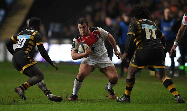 Wasps' Christian Wade (L), pictured in January 2017, was one of three to score a try against Northhampton before Matt Mullan's overtime drive (AFP Photo/Paul ELLIS)