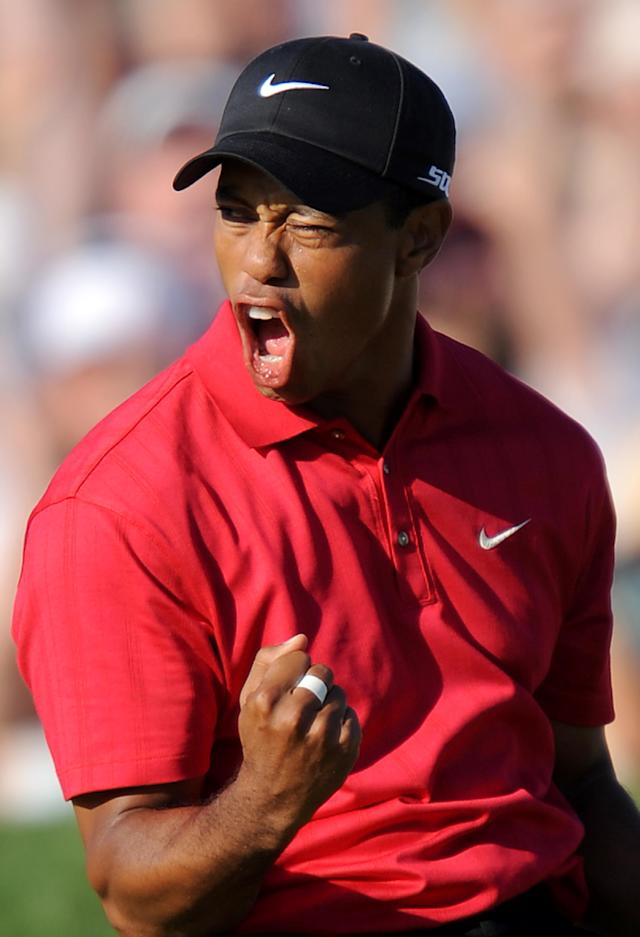 Tiger Woods celebrates his birdie putt on the 18th hole in the fourth round of the 108th US Open golf tournament at Torrey Pines Golf Course in San Diego, California on June 15, 2008 (AFP Photo/Robyn Beck)