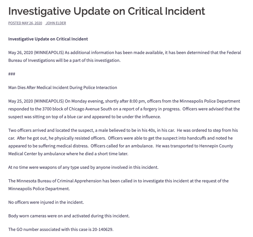 An archived version of the Minneapolis Police Department's initial statement on the fatal arrest of George Floyd on May 25, 2020.