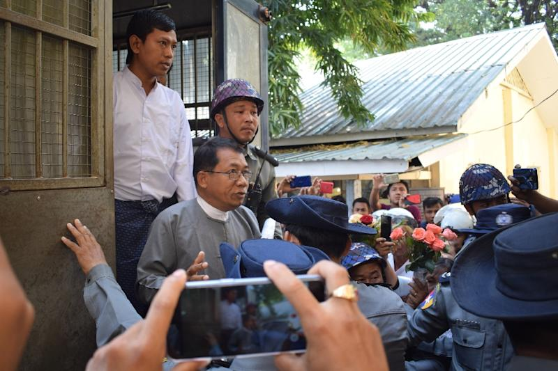Aye Maung, the former chairman of the Arakan National Party -- which is renowned for hardline views against the Rohingya Muslim minority -- was sentenced for treason and defamation (AFP Photo/STR)