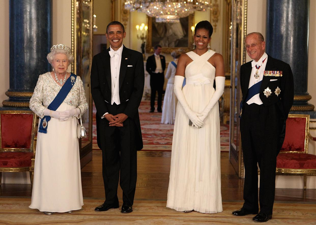File photo dated 24/05/11 of Queen Elizabeth II and the Duke of Edinburgh posing with U.S. President Barack Obama and First Lady Michelle Obama in the Music Room of Buckingham Palace ahead of a State Banquet, as part of the Presidents three-day state visit to the UK. The Duke of Edinburgh has died, Buckingham Palace has announced. Issue date: Friday April 9, 2020.. See PA story DEATH Philip. Photo credit should read: Chris Jackson/PA Wire