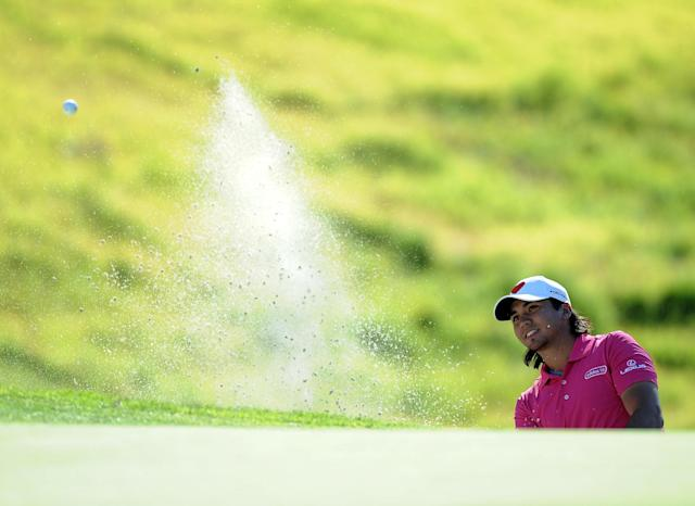PACIFIC PALISADES, CA - FEBRUARY 16: Jason Day of Australia hits out of the bunker on the seventh hole during the first round of the Northern Trust Open at the Riviera Country Club on February 16, 2012 in Pacific Palisades, California. (Photo by Harry How/Getty Images)