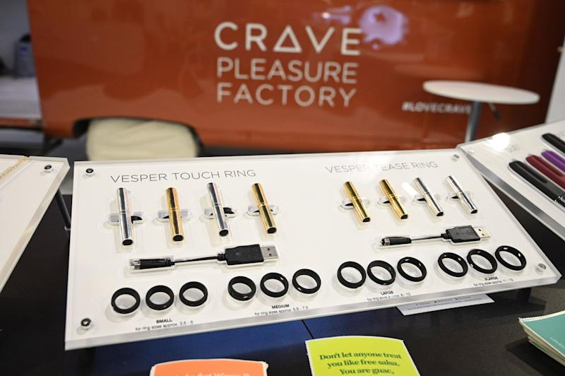 Crave displays vibrators that double as jewelry at the 2020 Consumer Electronics Show (CES) in Las Vegas, Nevada, January 7, 2020. - For the first time sex tech is making an appearance at CES in the health and wellness section of the giant electronics and gadget fair. (Photo by Robyn Beck / AFP) (Photo by ROBYN BECK/AFP via Getty Images)