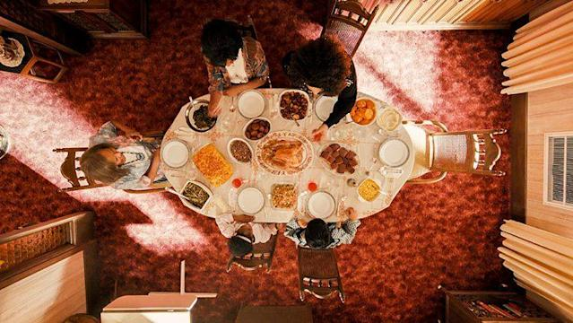 An aerial view of 'Thanksgiving' dinner in Netflix's 'Master of None' (Photo: Netflix)