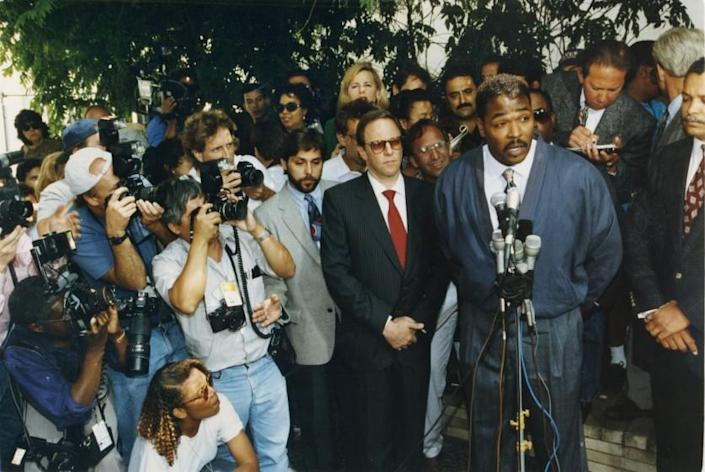 FILE PHOTO –– May 1, 1992 –– Rodney Glen King meets the press outside his lawyer's office in Beverly Hills . King asked that the killing, looting and destruction that his case against the LAPD caused would stop._(LAT photo by Larry Davis).