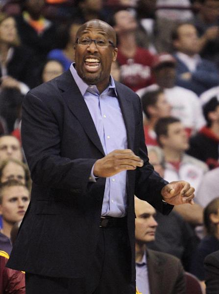 Cleveland Cavaliers' head coach Mike Brown instructs his team against the Philadelphia 76ers during the first quarter of an NBA preseason basketball game Monday, Oct. 21, 2013, in Columbus, Ohio. (AP Photo/Jay LaPrete)