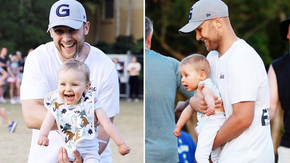 Gary Ablett and son Levi, pictured here in the AFL's quarantine hub on the Gold Coast.