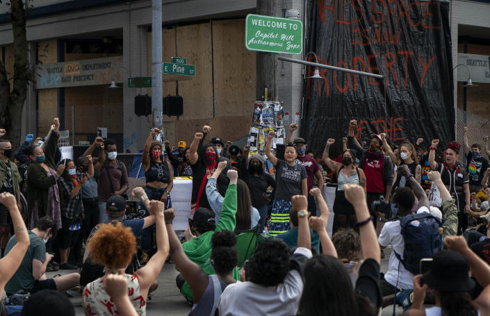 "A gathering on Wednesday, June 10, 2020, in the Seattle neighborhood of Capitol Hill, where protesters have established an ""autonomous zone."" (Ruth Fremson/The New York Times)"