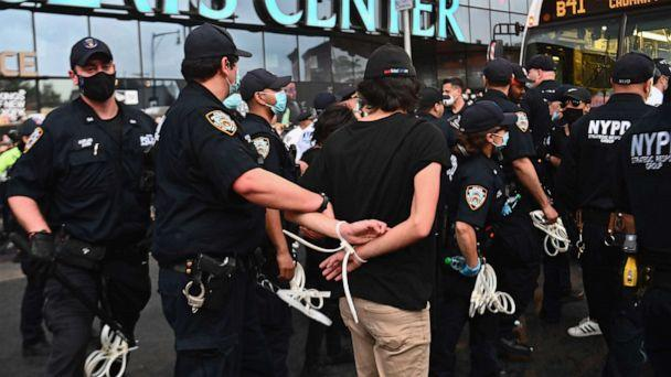 PHOTO: Police officers arrest a protester during a Black Lives Matter protest near Barclays Center on May 29, 2020, in the Brooklyn borough of New York. (Angela Weiss/AFP via Getty Images, FILE)
