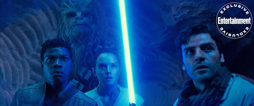 Finn, Chewbacca, Rey, and Poe face a threat.