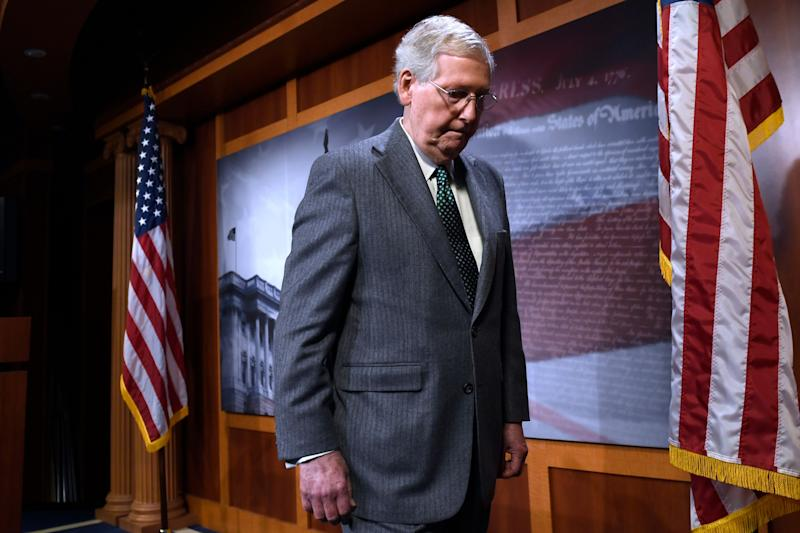 Senate Majority Leader Mitch McConnell of Ky., leaves following a news conference on Capitol Hill in Washington, Wednesday, March 6, 2019. McConnell is opposed to H.R. 1, the first bill of the new House majority that tackles campaign finance reforms and other issues. (Photo: Susan Walsh/AP)