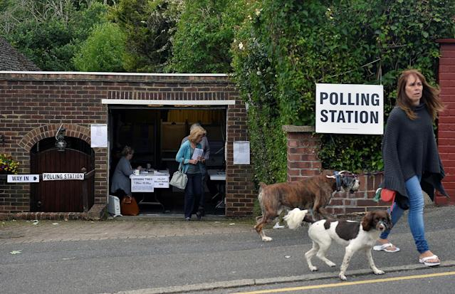 <p>A voter leaves a private garage which is being used as a polling station in Coulsdon, on general election day in south London, Britain June 8, 2017. (Photo: Hannah McKay/Reuters) </p>