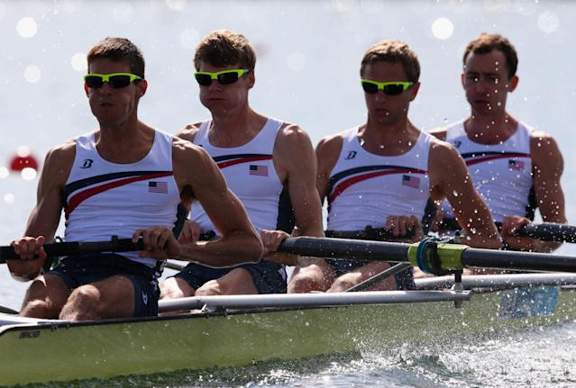 WINDSOR, ENGLAND - JULY 29: Anthony Fahden, William Newell, Nicholas La Cava and Robin Prendes of the United States compete in the Lightweight Men's Four heats on Day 2 of the London 2012 Olympic Games at Eton Dorney on July 29, 2012 in Windsor, England. (Photo by Alexander Hassenstein/Getty Images)