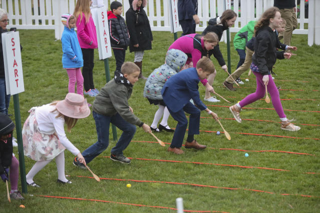<p>Children participate in the annual White House Easter Egg Roll on the South Lawn of the White House in Washington, Monday, April 2, 2018. (Photo: Pablo Martinez Monsivais/AP) </p>