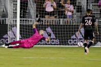 The ball gets past Inter Miami goalkeeper John McCarthy on a goal by Montreal's Bjorn Johnsen during the first half of an MLS soccer match Wednesday, May 12, 2021, in Fort Lauderdale, Fla. (AP Photo/Lynne Sladky)