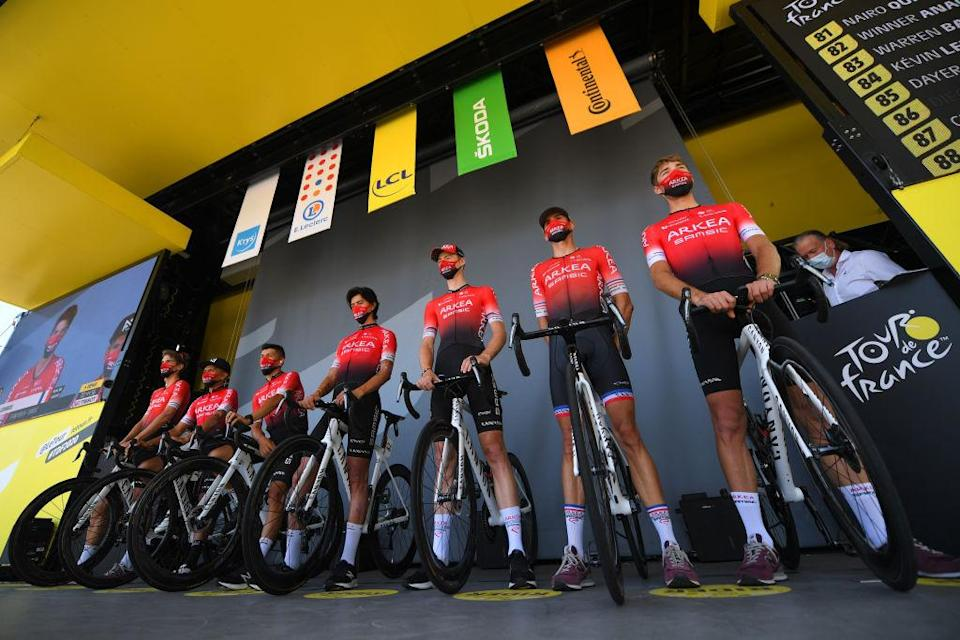 CHAMPAGNOLE FRANCE  SEPTEMBER 18 Start  Winner Andrew Anacona of Colombia Warren Barguil of France Kevin Ledanois of France Dayer Uberney Quintana Rojas of Colombia Nairo Quintana Rojas of Colombi Clement Russo of France Connor Swift of United Kingdom and Team Arkea  Samsic  Mask  Covid safety measures  Team Presentation  during 107th Tour de France 2020 Stage 19 a 1665km stage from Bourg en Bresse to Champagnole 547m  TDF2020  LeTour  on September 18 2020 in Champagnole France Photo by Tim de WaeleGetty Images