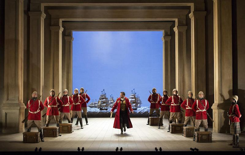 "In this March 25, 2013 photo provided by the Metropolitan Opera, David Daniels as Julius Caesar performs during a rehearsal of Handel's ""Giulio Cesare."" (AP Photo/ Metropolitan Opera, Marty Sohl)"