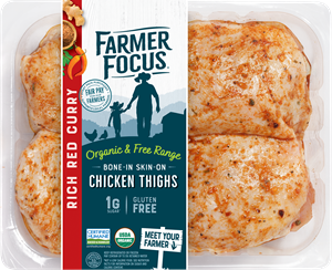 """A sweet and savory mix of red pepper, ginger, and garam masala, Farmer Focus' organic and humanely raised Red Curry Pre-Seasoned Bone-In Skin-On Chicken Thighs won the NEXTY Award for """"Best New Organic Food""""."""