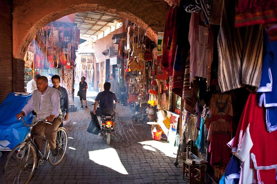 """<p><strong>Marrakech, Morocco</strong></p><p>Morocco's third-largest city offers a dizzying array of souks (markets), mosques, and restaurants. The Medina district in particular boasts a labyrinth of souks, where you can haggle for crafts, carpets, spices, and more. It's a mix of European, Middle Eastern, and African cultures, a confluence that will make the experience even more interesting, especially when it comes to the food. You can also use the city as a starting point to travel around the rest of the country.</p><span class=""""copyright"""">Photo: Bart Pro / Alamy. </span>"""