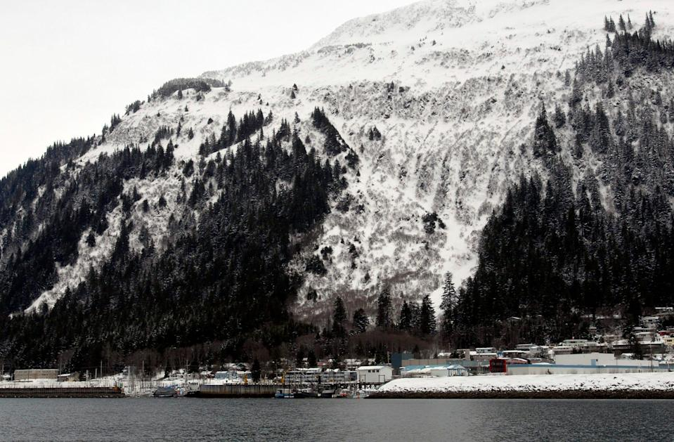 "The Behrends Avenue avalanche path, center, is shown on Mount Juneau in this March 13, 2007, file photo. Alaska's capital city of Juneau elevated its urban avalanche forecast to ""extreme"" danger on Saturday."