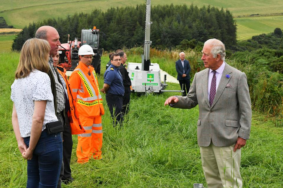 Charles has kept to social distancing during the visit to the scene of the ScotRail derailment. (Ben Birchall/PA Wire)