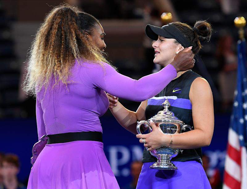 Sept 7, 2019; Flushing, NY, USA; Bianca Andreescu of Canada (right) and Serena Williams of the USA greet each other at the trophy presentation after the women's singles final on day thirteen of the 2019 U.S. Open tennis tournament at USTA Billie Jean King National Tennis Center. Mandatory Credit: Robert Deutsch-USA TODAY Sports