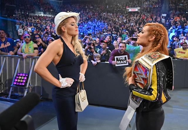 WWE star Lacey Evans squares off with Becky Lynch. (Photo Courtesy of WWE)