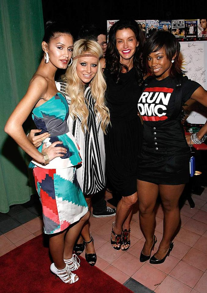 "Jaslene Gonzales, Aubrey O'Day, Janice Dickinson, and Wanita ""D. Woods"" Woodgette pose at the Entertainment Weekly and Vavoom annual upfront bash at the Bowery Hotel in NYC. Is Jaslene Janice's love child or her twin sister? Joe Kohen/<a href=""http://www.wireimage.com"" target=""new"">WireImage.com</a> - May 13, 2008"