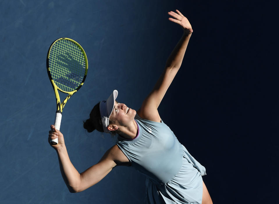 United States' Jennifer Brady serves to Karolina Muchova of the Czech Republic during their semifinal match at the Australian Open tennis championship in Melbourne, Australia, Thursday, Feb. 18, 2021.(AP Photo/Andy Brownbill)