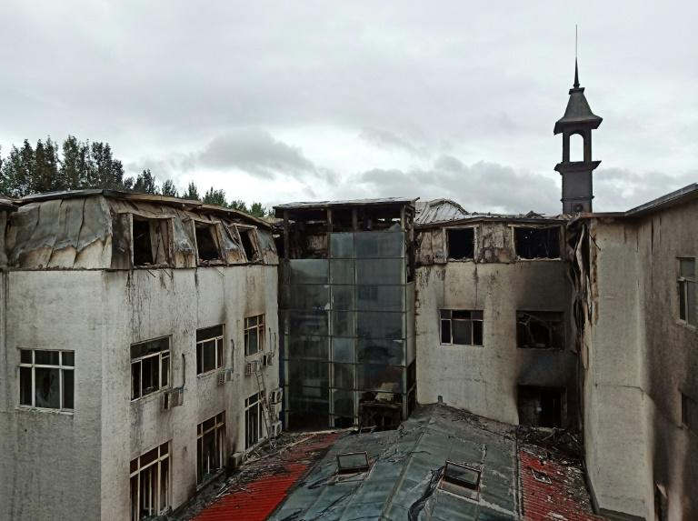 The blaze broke out during the night at the hotel in Harbin