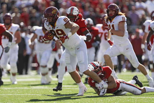 Iowa State's Dylan Soehner (89) breaks away from Texas Tech's Thomas Leggett (16) during the first half of an NCAA college football game, Saturday, Oct. 19, 2019, in Lubbock, Texas. (Brad Tollefson/Lubbock Avalanche-Journal via AP)