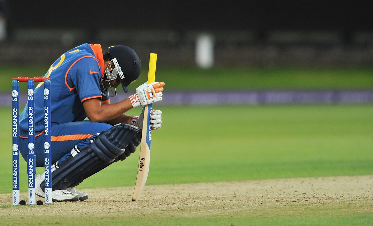 LONDON, ENGLAND - JUNE 14: Yusuf Pathan of India bows his head during the ICC World Twenty20 Super Eights match between England and India at Lord's on June 14, 2009 in London, England.  (Photo by Christopher Lee/Getty Images)