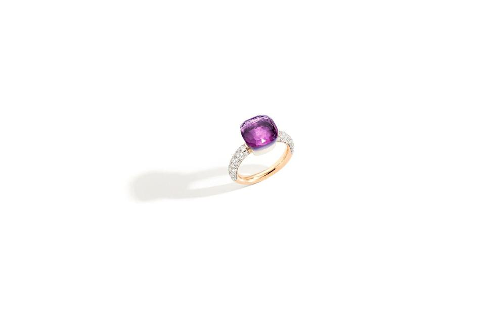 """<p><a class=""""link rapid-noclick-resp"""" href=""""https://www.pomellato.com/en_gb/jewelry/rings/ring-nudo-rose-gold-18kt-white-gold-18kt-amethyst-diamond?childSku=PAB4010_O6000_DB0OI_48"""" rel=""""nofollow noopener"""" target=""""_blank"""" data-ylk=""""slk:SHOP NOW"""">SHOP NOW</a></p><p>Renowned for its use of colourful gemstones, Pomellato's polished amethyst ring gleams with an intensely rich hue. </p><p>Gold, amethyst and diamond ring, £4,230, <a href=""""https://www.pomellato.com/en_gb/"""" rel=""""nofollow noopener"""" target=""""_blank"""" data-ylk=""""slk:Pomellato"""" class=""""link rapid-noclick-resp"""">Pomellato</a>.</p>"""