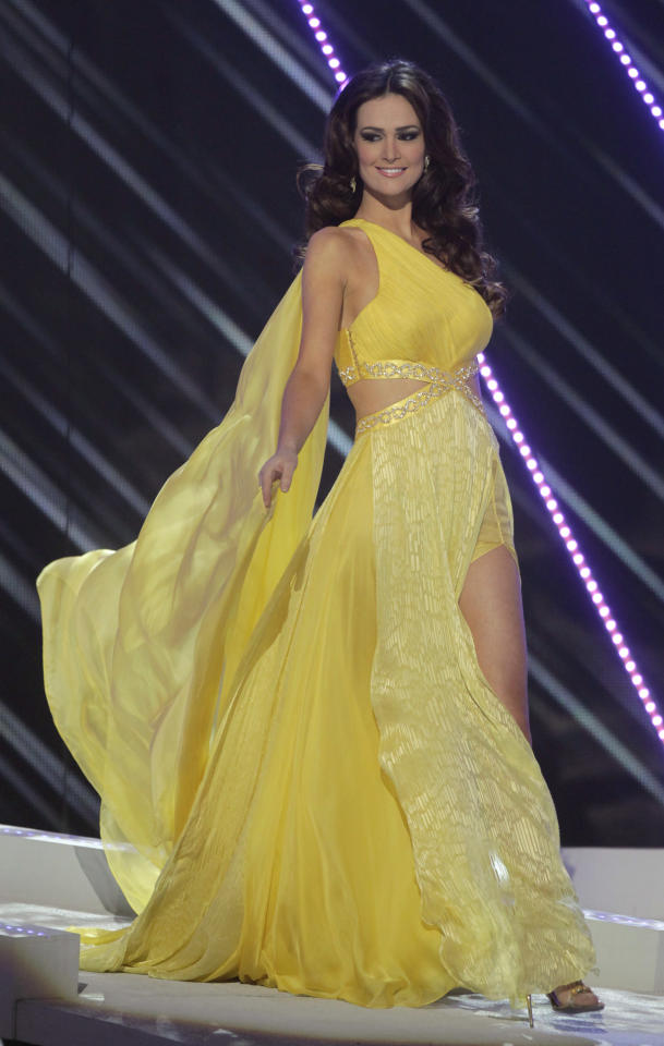 Miss Brazil Priscila Machado wears an evening gown as she competes at the Miss Universe pageant in Sao Paulo, Brazil, Monday, Sept. 12, 2011. Machado was named second runner up. (AP Photo/Andre Penner)